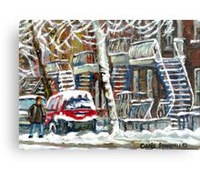 MONTREAL SNOWSTORM WINTER STREET SCENE PAINTING Metal Print