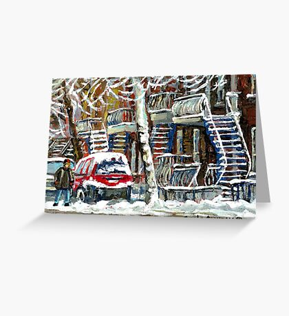 MONTREAL SNOWSTORM WINTER STREET SCENE PAINTING Greeting Card