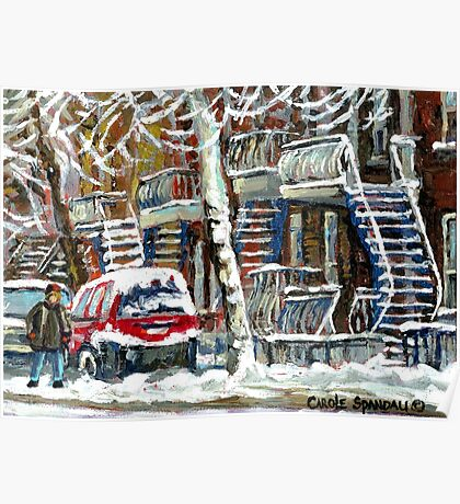 MONTREAL SNOWSTORM WINTER STREET SCENE PAINTING Poster