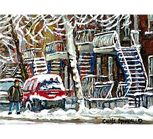 MONTREAL SNOWSTORM WINTER STREET SCENE PAINTING Photographic Print