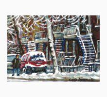 MONTREAL SNOWSTORM WINTER STREET SCENE PAINTING T-Shirt
