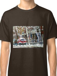 MONTREAL SNOWSTORM WINTER STREET SCENE PAINTING Classic T-Shirt
