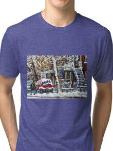 MONTREAL SNOWSTORM WINTER STREET SCENE PAINTING Tri-blend T-Shirt