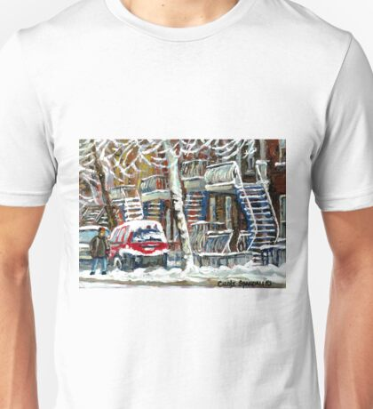 MONTREAL SNOWSTORM WINTER STREET SCENE PAINTING Unisex T-Shirt