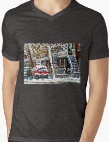 MONTREAL SNOWSTORM WINTER STREET SCENE PAINTING Mens V-Neck T-Shirt