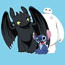 Toothless,Stitch and Baymax by drawingdream