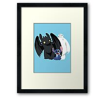 Toothless,Stitch and Baymax Framed Print