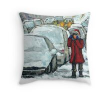 WALKING THROUGH THE SNOW VERDUN MONTREAL WINTER STREET SCENE Throw Pillow