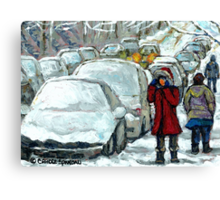 WALKING THROUGH THE SNOW VERDUN MONTREAL WINTER STREET SCENE Canvas Print