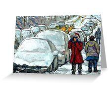 WALKING THROUGH THE SNOW VERDUN MONTREAL WINTER STREET SCENE Greeting Card