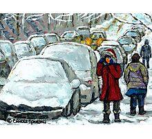 WALKING THROUGH THE SNOW VERDUN MONTREAL WINTER STREET SCENE Photographic Print