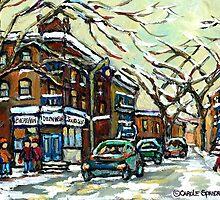 DEPANNEUR ON DEBULLION STREET MONTREAL WINTER CITY SCENES by Carole  Spandau