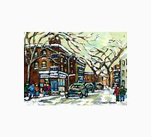 DEPANNEUR ON DEBULLION STREET MONTREAL WINTER CITY SCENES Unisex T-Shirt