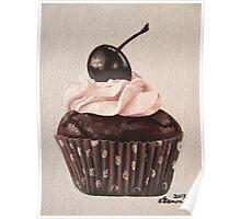 Chocolate Cherry Cupcake Poster