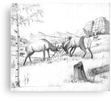 The Challenge - Elk - Charcoal Canvas Print