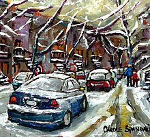 SNOWY JANUARY DAY IN MONTREAL SNOWED IN CARS by Carole  Spandau