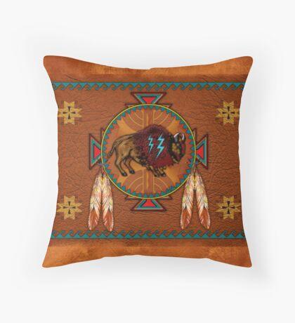 Buffalo Leather Throw Pillow