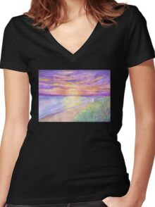 Flagler Beach Sunrise Women's Fitted V-Neck T-Shirt