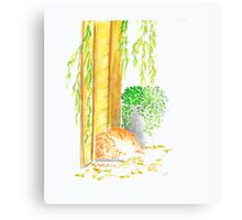 Biscuit under the willow. Canvas Print
