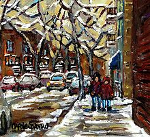 VERDUN ROW HOUSES IN WINTER MONTREALSTREET SCENES by Carole  Spandau
