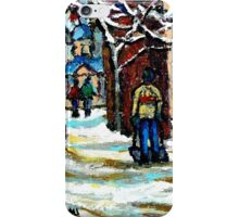 SHOVELLING AFTER THE SNOWSTORM MONTREAL CITY SCENE iPhone Case/Skin