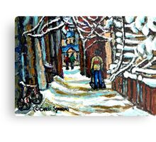 SHOVELLING AFTER THE SNOWSTORM MONTREAL CITY SCENE Metal Print