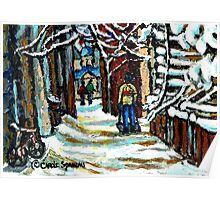 SHOVELLING AFTER THE SNOWSTORM MONTREAL CITY SCENE Poster
