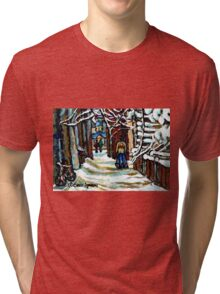 SHOVELLING AFTER THE SNOWSTORM MONTREAL CITY SCENE Tri-blend T-Shirt