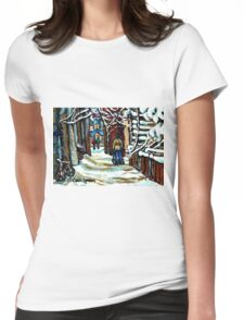 SHOVELLING AFTER THE SNOWSTORM MONTREAL CITY SCENE Womens Fitted T-Shirt