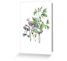 mushroom and floral Greeting Card
