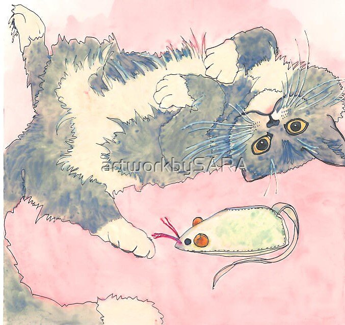 Cat with Mouse by artworkbySARA