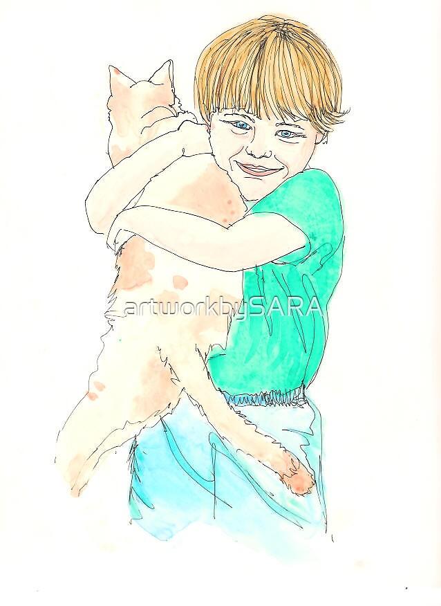 Boy with Cat by artworkbySARA