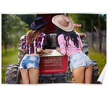 Sexy female farmers fixing the tractor Poster