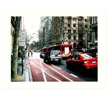 LEFT TURN MUST TURN LEFT buses excepted Art Print