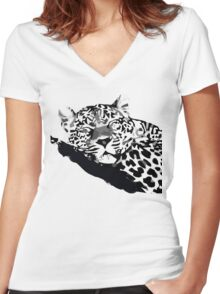 LEOPARD VECTOR Women's Fitted V-Neck T-Shirt