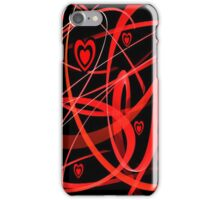 Black & Red Hearts Abstract Art iPhone Case/Skin