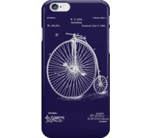 Bicycle - High Wheel - 1885 Nye Velocipede Patent - Blue iPhone Case/Skin