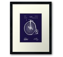 Bicycle - High Wheel - 1885 Nye Velocipede Patent - Blue Framed Print