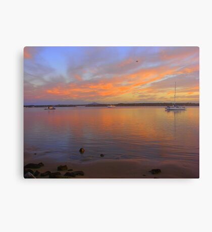 Orange Bay Boat Sunset Canvas Print