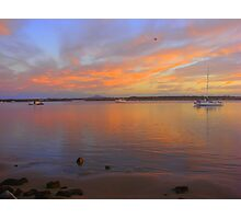 Orange Bay Boat Sunset Photographic Print