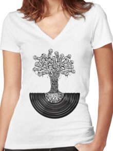 Music Roots Women's Fitted V-Neck T-Shirt