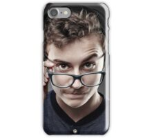 Handsome teenager wearing trendy cap and glasses iPhone Case/Skin