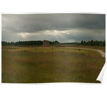 Culloden Moor with the Grave Markers for clans Poster