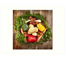 Vegetables and herbs nest arrangement Art Print