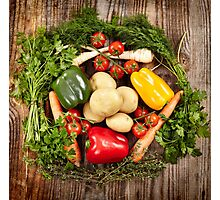 Vegetables and herbs nest arrangement Photographic Print