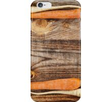 Vegetables frame on wooden board iPhone Case/Skin