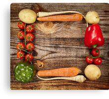 Vegetables frame on wooden board Canvas Print