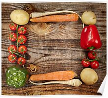 Vegetables frame on wooden board Poster