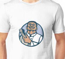 Barber Hair Clipper Scissors Circle Linocut Unisex T-Shirt
