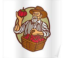 Organic Farmer Tomato Basket Woodcut Linocut Poster